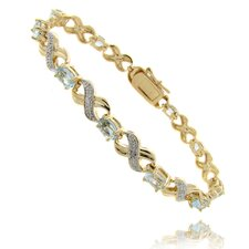Gold Ovelay Ruby and Diamond Accent XO Design Bracelet