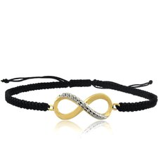 18kGold Overlay Diamond Accent Infinity Braided String Bracelet