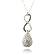 Silver Overlay Diamond Accent Black and White Infinity Drop Necklace