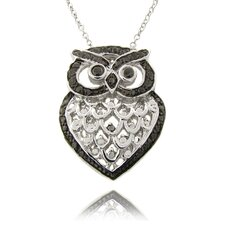 Silver Overlay Diamond Accent Black and White Owl Necklace