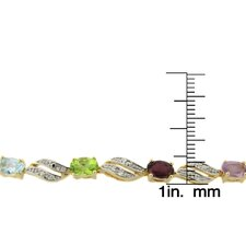 Multi Gemstone and Diamond Accent Marquise Design Bracelet