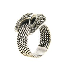 <strong>Gem Jolie</strong> Sterling Silver Marcasite Cable Design Buckle Ring