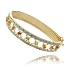 Diamond Accent Gemstone Lattice Design Bracelet