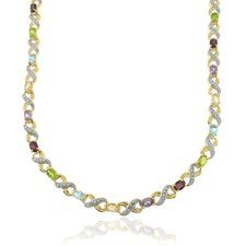 Two-tone Multi-gemstone and Diamond Accent 'XO' Necklace