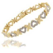 Gold Overlay Diamond Accent Heart and X Bracelet