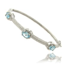 <strong>Gem Jolie</strong> Silver Overlay Blue Topaz and Diamond Accent Bangle