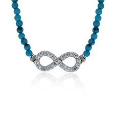 Sterling Silver Cubic Zirconia, and Turquoise Infinity Necklace