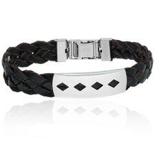 Braided Imitation Leather and Stainless Steel Bracelet