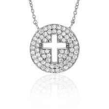 Sterling Silver Cubic Zirconia Circle Cross Pendant