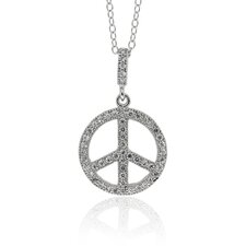 Sterling Silver Cubic Zirconia Peace Sign Necklace