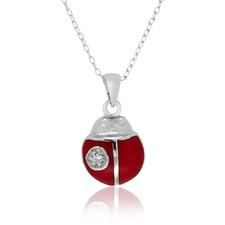Sterling Silver Cubic Zirconia Red Enamel Ladybug Necklace