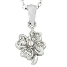 Sterling Silver Cubic Zirconia Flower Necklace