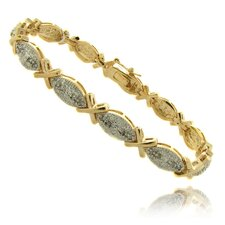 "Gold Overlay 1/4 Carat TW Diamond Marquise ""X"" Bracelet"