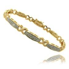 "Gold Overlay Diamond Accent ""X"" Bar Bracelet"