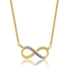 18k Gold Overlay Diamond Accent Infinity Necklace