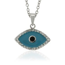 Sterling Silver Cubic Zirconia and Enamel Evil Eye Pendant
