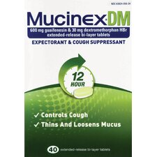 Mucinex DM Expectorant and Cough Suppressant Tablets (Pack of 40)