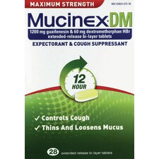Mucinex DM Maximum Strength Expectorated and Cough Suppressant Tablets (Pack of 28)