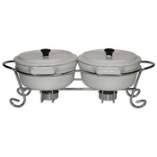 3 Piece Stainless Steel Casseroles and Foodwarmer in White