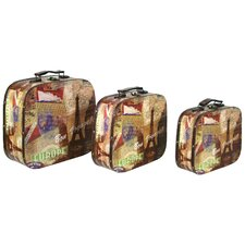 3 Piece Paris Decorative Suitcase Set
