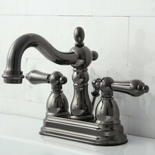 <strong>Kingston Brass</strong> Water Onyx Double Handle Centerset Bathroom Faucet with ABS/Brass Pop-Up Drain