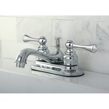 English Vintage Double Handle Centerset Bathroom Faucet with ABS Pop-Up Drain