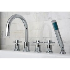 Concord Three Handle Roman Tub Filler with Hand Shower