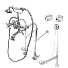 <strong>Kingston Brass</strong> Vintage/Aqua Eden Freestanding Clawfoot Tub Faucet Package with Metal Cross Handles