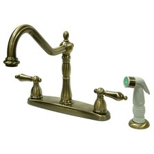<strong>Kingston Brass</strong> Heritage Double Handle Centerset Kitchen Faucet with Non-Metallic Spray
