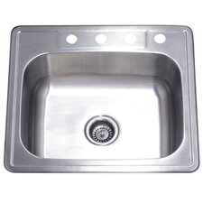 "<strong>Kingston Brass</strong> Studio 22"" x 25"" Gourmetier Self Rimming Single Bowl Kitchen Sink"