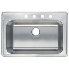 "<strong>Kingston Brass</strong> Studio 22"" x 33"" Gourmetier Self Rimming Single Bowl Kitchen Sink"