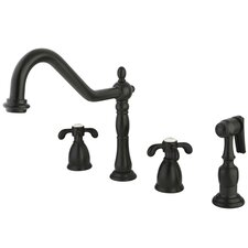 French Country Double Handle Widespread Kitchen Faucet