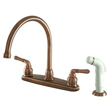 <strong>Kingston Brass</strong> Magellan Double Handle Goose Neck Kitchen Faucet with Side Spray
