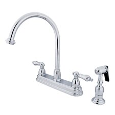 <strong>Kingston Brass</strong> Restoration Double Handle Kitchen Faucet with Brass Spray