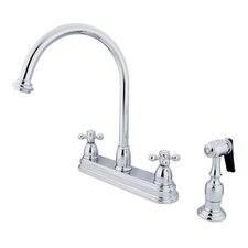 Restoration Double Handle Kitchen Faucet with Brass Spray