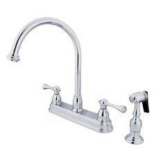 <strong>Kingston Brass</strong> Vintage Double Handle Kitchen Faucet with Brass Spray