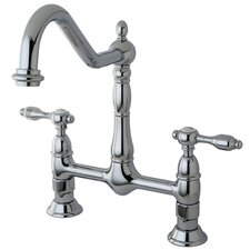 <strong>Kingston Brass</strong> Tudor Double Handle Kitchen Faucet Without Spray