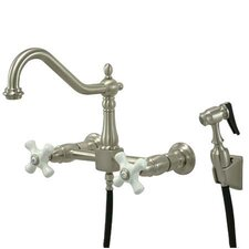 Heritage Double Handle Widespread Wall Mount Kitchen Faucet with Wall Mounted Side Spray