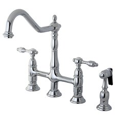 Tudor Double Handle Widespread Kitchen Faucet with Brass Spray
