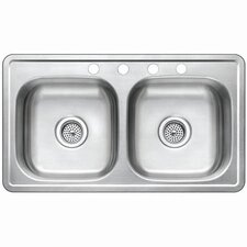 "Studio 19"" x 33"" Gourmetier Self-Rimming Double Bowl Kitchen Sink"