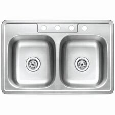 "Studio 22"" x 33"" Gourmetier Self-Rimming Double Bowl Kitchen Sink"