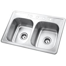 "<strong>Kingston Brass</strong> Studio 22"" x 33"" Gourmetier Self-Rimming Double Bowl Kitchen Sink"
