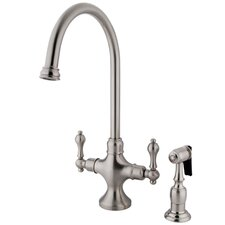 Vintage Double Handle Kitchen Faucet with Brass Side Sprayer