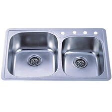 "Studio 22"" x 22"" Gourmetier Self-Rimming Double Bowl Kitchen Sink"