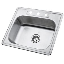 "Studio 22"" x 25"" Gourmetier Self Rimming Single Bowl Kitchen Sink"