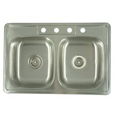 "Carefree 33"" x 22""  Double Bowl Self-Rimming Kitchen Sink"