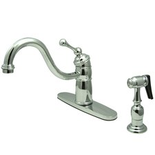 <strong>Kingston Brass</strong> Victorian Single Handle Kitchen Faucet with Brass Spray