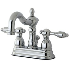 Tudor Double Handle Centerset Bathroom Faucet with Brass Pop-Up Drain