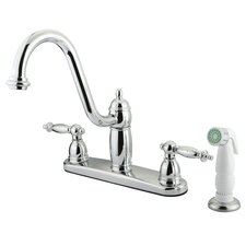 <strong>Kingston Brass</strong> Templeton Double Handle CentersetKitchen Faucet with White Spray