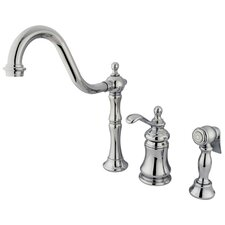 Templeton Single Handle Widespread Kitchen Faucet with Brass Spray